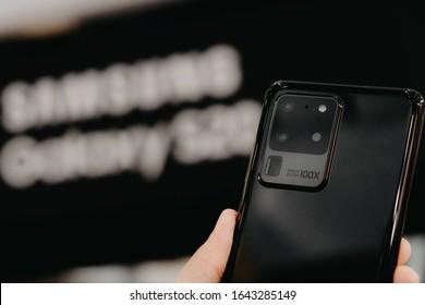 BANGKOK THAILAND : Samsung launch The New Galaxy Samsung Galaxy S20 Ultra on February 13 ,2020 bangkok ,thailand