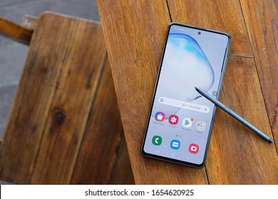 BANGKOK THAILAND : Samsung launch The New Galaxy Samsung Galaxy Note 10 Lite on January 29 ,2020 bangkok ,thailand