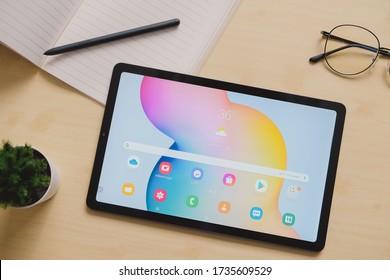 BANGKOK THAILAND : Samsung launch New Tablet Samsung Galaxy Tab S6 Lite on May 7 ,2020 bangkok ,thailand