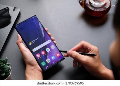 BANGKOK THAILAND : Samsung launch The New Galaxy Samsung Galaxy Note 20 Ultra 5G on August 5 ,2020 bangkok ,thailand