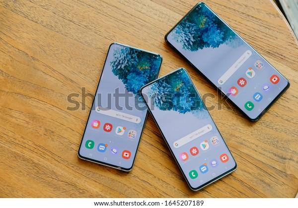 BANGKOK THAILAND : Samsung launch The New Galaxy Samsung Galaxy S20 Series (S20,S20+,S20 Ultra) on February 13 ,2020 bangkok ,thailand