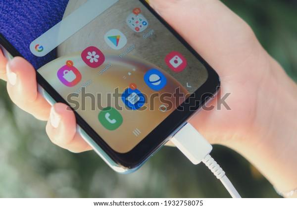 BANGKOK THAILAND : Samsung launch The New Galaxy Samsung Galaxy A32 5G on March 9 ,2021 bangkok ,thailand