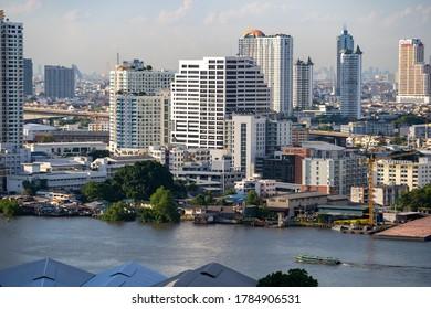 Bangkok, Thailand, Saturday 18 July 2020 : Skyscrapers and business tower bangkok cityscape with Chao Phaya River