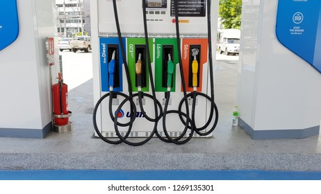 Bangkok, Thailand Sep 1, 2018: Oil dispenser of PTT oil station . (PTT : Petroleum Authority of Thailand) PTT is a Thai state owned SET-listed oil and gas company.