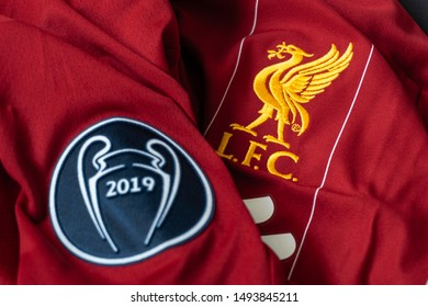 Bangkok, Thailand - Sep 1, 2019: This is Liverpool football club logo on the home shirt jersey 2019/20 and embellish their UEFA badge of honour with victory in the UEFA Champions League final 2019.