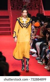 BANGKOK, THAILAND - SEP 1 Model walks the runway at Kloset collection Fall-Winter presentation during ELLE Fashion Week 2017 on September 1, 2017 in Bangkok, Thailand.