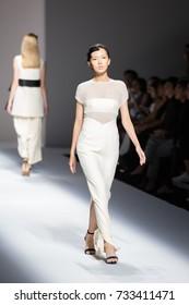 BANGKOK, THAILAND - SEP 1 Model walks the runway at VATIT ITTHI collection Fall-Winter presentation during ELLE Fashion Week 2017 on September 1, 2017 in Bangkok, Thailand.