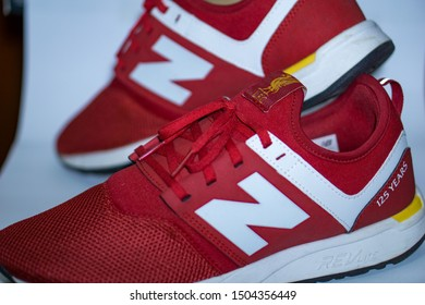 Bangkok, Thailand - Sep 13, 2019: This is New Balance 247 LFC 125 YEAR, The special edition trainers are called LFC247s 125TH and they are feature the famous LFC crest on the tongue and on the insole.