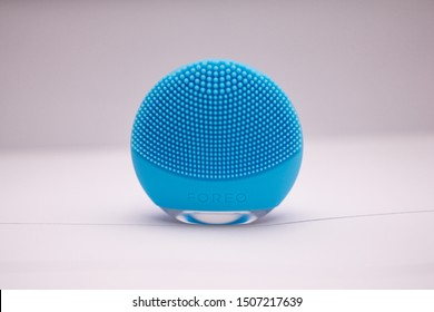 Bangkok, Thailand - Sep 13, 2019: This is face washing machine brand foreo. It was made from medical non allergy silicone. By this blue one is suitable for combination skin.