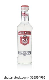 BANGKOK, THAILAND - Sep 15, 2015 : A single bottle of Smirnoff Premium Ice No.131. Established around 1860 in Moscow by Pyotr Arsenievich Smirnoff and is now owned and produced by Diageo from UK.