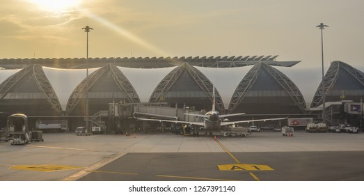 Bangkok, Thailand - Sep 15, 2018. Suvarnabhumi Airport (BKK) building from outside. BKK is one of two international airports serving Bangkok, Thailand.