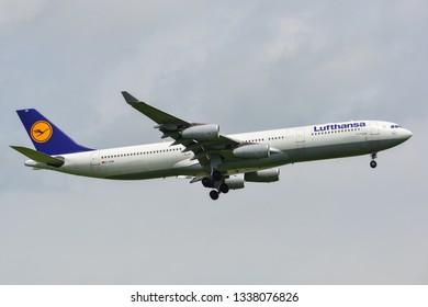 Bangkok, Thailand - Sep 17, 2018. An Airbus A340-300 airplane of Lufthansa landing at Bangkok Suvarnabhumi Airport (BKK).