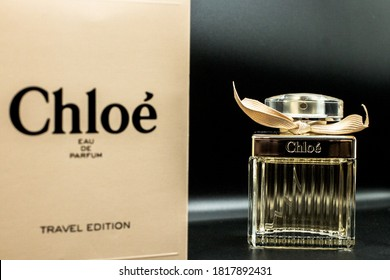 Bangkok, Thailand - Sep 17,2020 : Chloe perfume on the shop display for sale, Chloe is French luxury fashion house founded in 1952 by Gaby Aghion. low lighting.