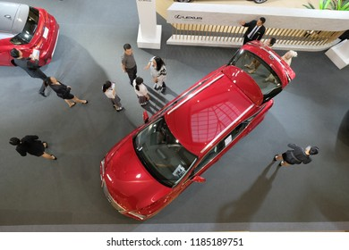 Bangkok, Thailand - SEP 18, 2018 : department store interior of Top view of sell car on Motor Show and exhibition at CentralWorld has 550,000 square metres of shopping mall