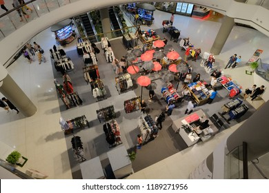 Bangkok, Thailand - SEP 18, 2018 :  department store interior of Top view of clothes Store and  shopping plaza at complex in the world. CentralWorld has 550,000 square metres of shopping mall