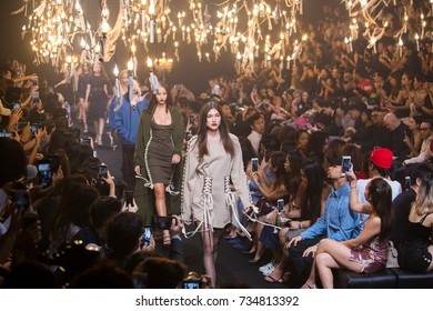 BANGKOK, THAILAND - SEP 2 Model walks the runway at VATANIKA collection Fall-Winter presentation during ELLE Fashion Week 2017 on September 2, 2017 in Bangkok, Thailand.