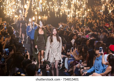 BANGKOK, THAILAND - SEP 2 Model walks the runway at VATANIKA collection Fall-Winter presentation during ELLE Fashion Week 2017 on September 2, 2017 in Bangkok, Thailand.