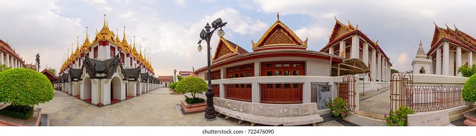 Bangkok , Thailand - Sep 21, 2017: 360 Panorama of Golden pagoda in Wat Ratcha Nadda Temple