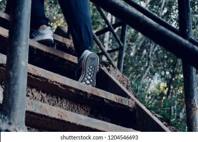 BANGKOK, THAILAND SEP 27, 2018 - Adidas shoes running in the jungle.
