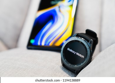 Bangkok, Thailand - Sep 28, 2018: New smartwatch Samsung Galaxy Watch 42mm midnight black with onyx black strap, paired use with Samsung Galaxy Note 9. Illustrative editorial content