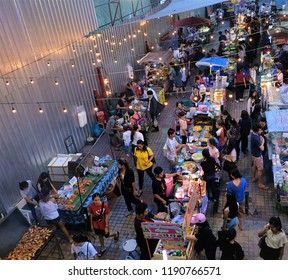 Bangkok Thailand Sep 28,2018: Thai street food near victory monument where the popular place that tourist love to shopping and taste local Thai food such as  Shrimp Cracked, plain omelet and pudthai.