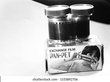 BANGKOK, THAILAND - SEP, 29: Vintage panorama stereo viewer color slide film represent the stereo viewer toy manufactured and film technology of japan on September 29, 2019 in Bangkok, Thailand.