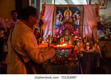 "Bangkok , Thailand - Sep 30, 2017 - Celebration "" Navaratri "" annual parade of Sri mahamariamman hindu temple at Silom Street in Thailand"