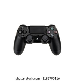 Bangkok, Thailand - Sep 30, 2018: Sony Playstation 4's DualShock 4 wireless controller isolated on white background. Illustrative editorial content
