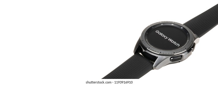 Bangkok, Thailand - Sep 30, 2018: New Smartwatch Samsung Galaxy Watch 42mm midnight black with onyx black strap display logo screen, isolated on white background. Close-up banner size with copy space