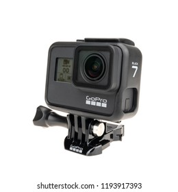 Bangkok, Thailand - Sep 30, 2018: New GoPro Hero 7 Black action camera display status operation screen, isolate on white background. Illustrative editorial content