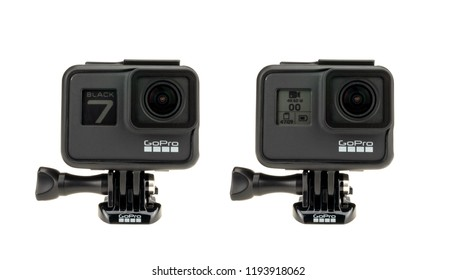 Bangkok, Thailand - Sep 30, 2018: New GoPro Hero 7 Black action camera display booting up and status operation screen, isolate on white background. Illustrative editorial content