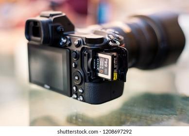 Bangkok, Thailand - Sep 30, 2018 :, new Nikon Z7 full-frame mirrorless camera XQD memory card