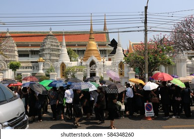 """BANGKOK THAILAND- SEP 30: Country People going to Worship Thai Patriarch """"Worship Thai Patriarch"""" on February 14,2017 at The Grand Palace Thailand."""