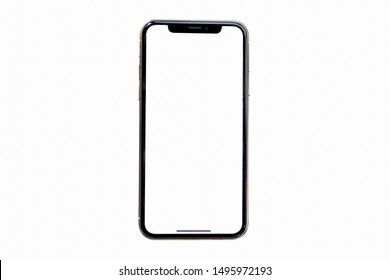 Bangkok, Thailand - Sep 4, 2019: Studio shot of Smartphone   iPhone 11 Pro Max with blank white screen for Infographic Global Business  web site design app, model  iPhone 10 or iPhone xs Max.