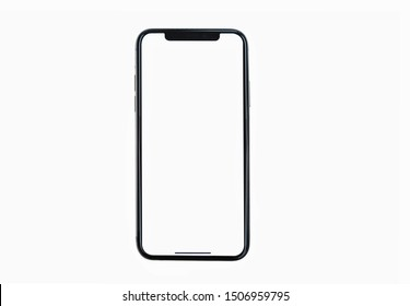 Bangkok, Thailand - Sep 4, 2019: Smartphone frameless  mockup. Studio shot of Smartphone iPhone 11 Pro Max with blank screen for Infographic Global Business  web site design app