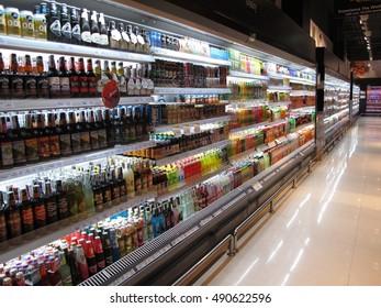 BANGKOK, THAILAND - SEP 4 : A view of an empty aisle at a Gourmet super market in Bangkok, Thailand