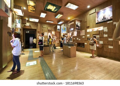 """BANGKOK, THAILAND - SEP 6, 2020 : Exhibition in the Museum Siam, was created to teach national identity and history of the people of Thailand. Located near Wat Pho Temple and MRT """"Sanam Chai"""" station."""