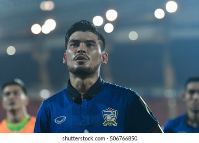 BANGKOK THAILAND SEP 6:Kroekrit Thaweekarn of Thailand in action during the 2018 FIFA World Cup Asian Qualifiers Match Thailand and Japan at Rajamangala Stadium on September 6,2016 in Thailand.