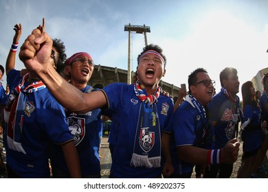 BANGKOK THAILAND SEP 6:Unidentified fans of Thailand in action during the 2018 FIFA World Cup Asian Qualifiers Match Thailand and Japan at Rajamangala Stadium on September 6,2016 in Thailand.