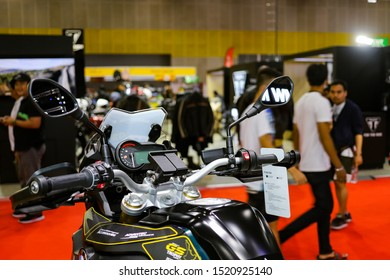 Bangkok, Thailand, Sep 8, 2019 - Front side view of BMW F850 GS super big motorbike speedometer control panel in motor exhibition