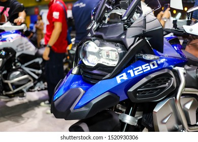 Bangkok, Thailand, Sep 8, 2019 - Front side of BMW R1250 GS HP big motorbikes booth in motor exhibition