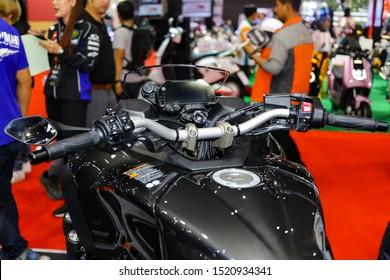 Bangkok, Thailand, Sep 8, 2019 - Yamaha Niken super big three wheels motorbike's speedometer control panel and button control in motor exhibition