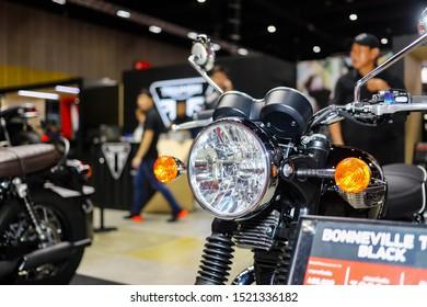 Bangkok, Thailand, Sep 8, 2019 - Vintage style Triumph big super motorbike in motor exhibition