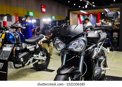 Bangkok, Thailand, Sep 8, 2019 - Triumph big super motorbike in motor exhibition