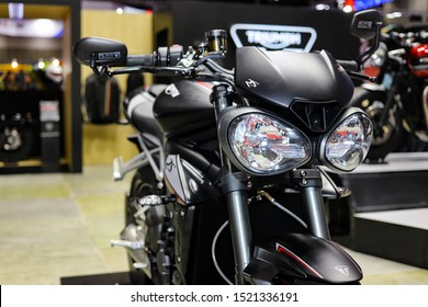 Bangkok, Thailand, Sep 8, 2019 - Black Triumph big super motorbike in motor exhibition