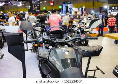 Bangkok, Thailand, Sep 8, 2019 - Front part of Honda CB500X touring adventure big motorbike which displaying in motor exhibition