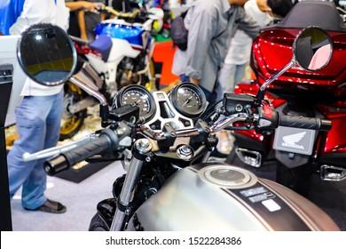 Bangkok, Thailand, Sep 8, 2019 - Front part of Honda CB1000r naked big motorbike in motor exhibition