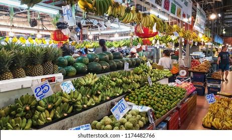 BANGKOK, THAILAND - SEP 8: Tropical thai fruits sell at Or Tor Kor market in Bangkok, Thailand on  September 8, 2018. Or Tor Kor is one of the biggest food market in Bangkok.