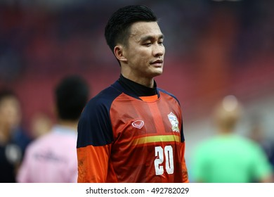BANGKOK THAILAND SEP6:Sinthaweechai of Thailand in action during the2018FIFA World Cup Asian Qualifiers Match Thailand and Japan at Rajamangala Stadium on September 6,2016 in Thailand.