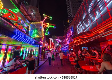 BANGKOK, THAILAND, SEPTEMBER 01, 2016 : View on the colorful neon lightings filling the Soi Cowboy street in the red entertainment district of Nana in Bangkok, Thailand